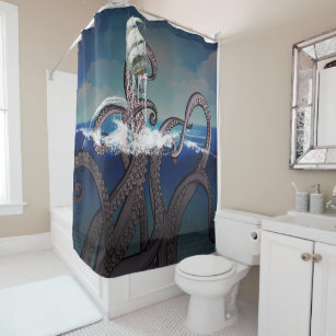 Pirate Ship Attacked By Giant Kraken Shower Curtain