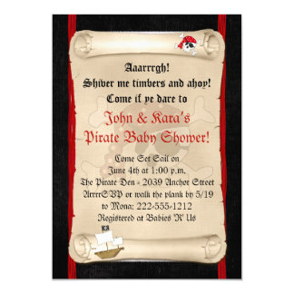 Pirate Ship Baby Shower Invitations - Red Skull