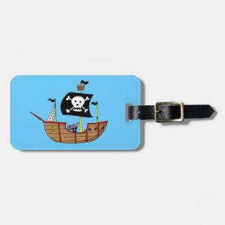 Pirate ship bag tag