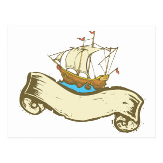 Pirate Ship banner Postcard
