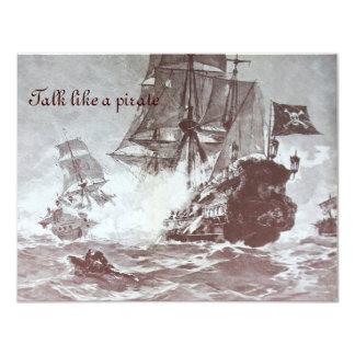 PIRATE SHIP BATTLE / ANTIQUE PIRATES TREASURE MAPS 4.25X5.5 PAPER INVITATION CARD