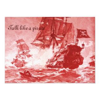 PIRATE SHIP BATTLE / ANTIQUE PIRATES TREASURE MAPS 5.5X7.5 PAPER INVITATION CARD