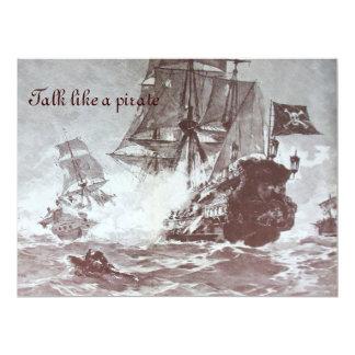 PIRATE SHIP BATTLE / ANTIQUE PIRATES TREASURE MAPS 6.5X8.75 PAPER INVITATION CARD