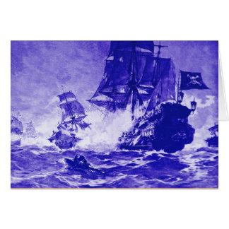PIRATE SHIP BATTLE / ANTIQUE PIRATES TREASURE MAPS CARD
