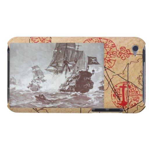 PIRATE SHIP BATTLE / ANTIQUE PIRATES TREASURE MAPS iPod TOUCH COVER