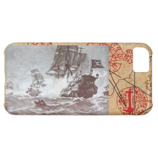 PIRATE SHIP BATTLE / ANTIQUE PIRATES TREASURE MAPS iPhone 5C COVER