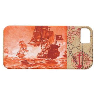 PIRATE SHIP BATTLE / ANTIQUE PIRATES TREASURE MAPS iPhone 5 COVER
