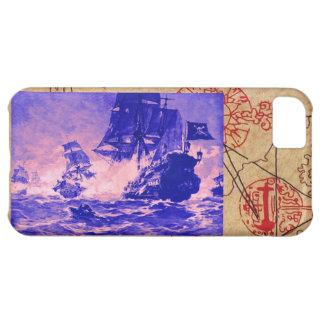 PIRATE SHIP BATTLE / ANTIQUE PIRATES TREASURE MAPS CASE FOR iPhone 5C