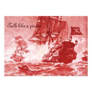 PIRATE SHIP BATTLE / ANTIQUE PIRATES TREASURE MAPS PERSONALIZED ANNOUNCEMENT