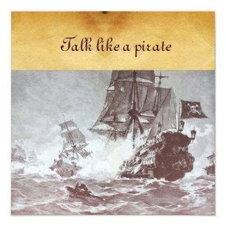 PIRATE SHIP BATTLE / ANTIQUE PIRATES TREASURE MAPS INVITATION