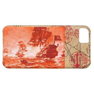 PIRATE SHIP BATTLE / ANTIQUE PIRATES TREASURE MAPS iPhone 5C CASE