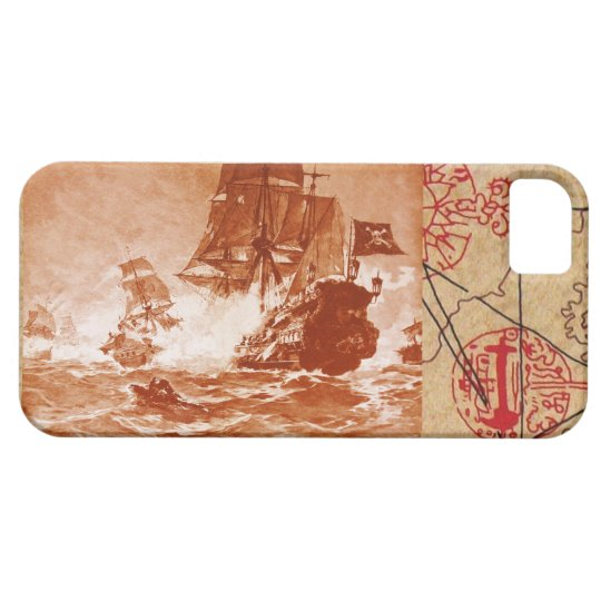 PIRATE SHIP BATTLE / ANTIQUE PIRATES TREASURE MAPS iPhone SE/5/5s CASE