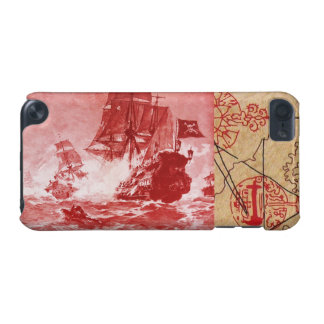 PIRATE SHIP BATTLE / ANTIQUE PIRATES TREASURE MAPS iPod TOUCH 5G COVER