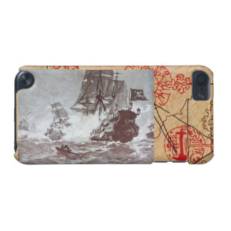 PIRATE SHIP BATTLE / ANTIQUE PIRATES TREASURE MAPS iPod TOUCH (5TH GENERATION) COVER