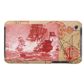 PIRATE SHIP BATTLE / ANTIQUE PIRATES TREASURE MAPS iPod TOUCH CASE