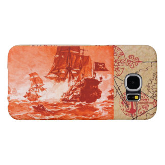 PIRATE SHIP BATTLE / ANTIQUE PIRATES TREASURE MAPS SAMSUNG GALAXY S6 CASES