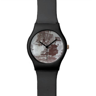 PIRATE SHIP BATTLE IN BLACK AND WHITE WRIST WATCHES