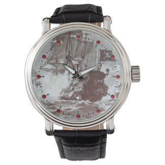 PIRATE SHIP BATTLE IN BLACK AND WHITE WATCHES