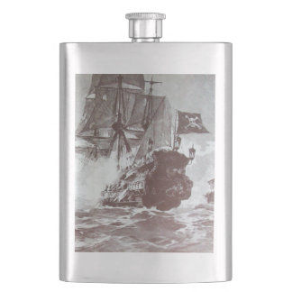PIRATE SHIP BATTLE IN black Flasks