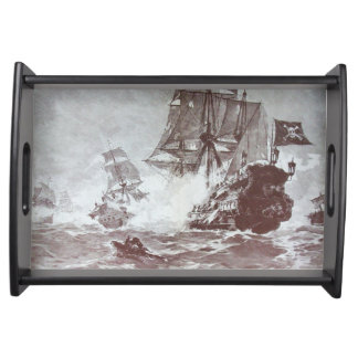 PIRATE SHIP BATTLE IN black white Serving Tray