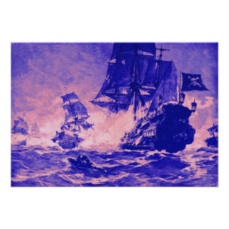 PIRATE SHIP BATTLE IN BLUE AND PINK POSTER