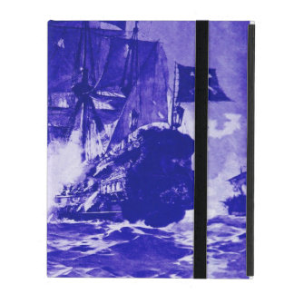PIRATE SHIP BATTLE IN blue iPad Cases