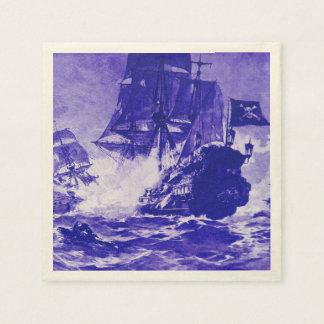 PIRATE SHIP BATTLE IN blue Napkin