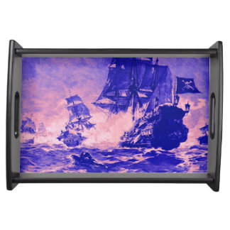 PIRATE SHIP BATTLE IN blue pink Serving Tray