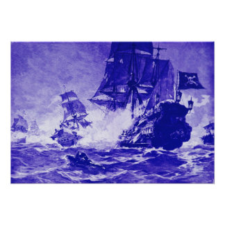PIRATE SHIP BATTLE IN BLUE POSTER