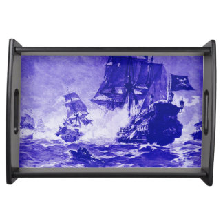 PIRATE SHIP BATTLE IN blue Serving Tray