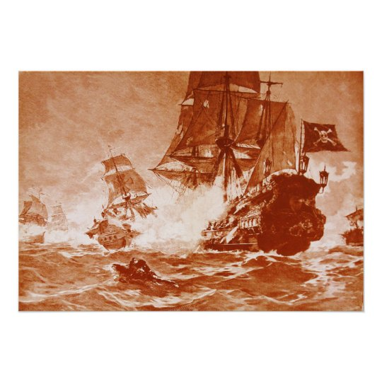 PIRATE SHIP BATTLE IN BROWN SEPIA POSTER