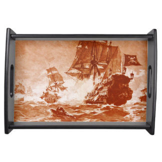PIRATE SHIP BATTLE IN brown sepia Serving Tray