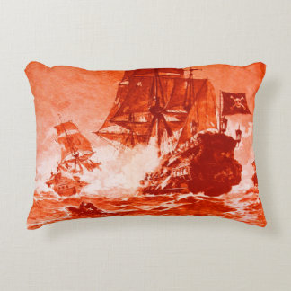 PIRATE SHIP BATTLE IN red Decorative Pillow