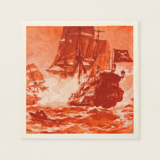 PIRATE SHIP BATTLE IN red Standard Cocktail Napkin