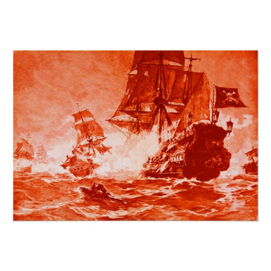 PIRATE SHIP BATTLE IN RED POSTER