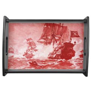 PIRATE SHIP BATTLE IN red purple Serving Trays