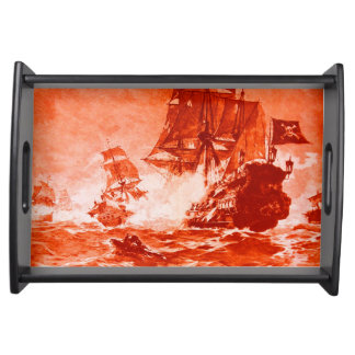 PIRATE SHIP BATTLE IN red Serving Tray