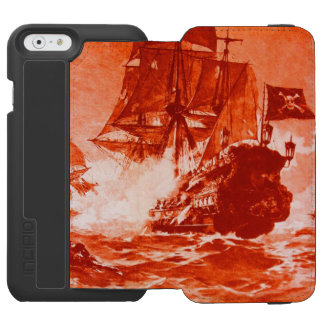 PIRATE SHIP BATTLE IN red white iPhone 6/6s Wallet Case