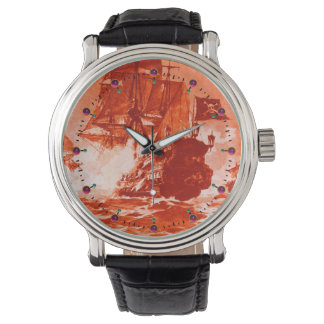 PIRATE SHIP BATTLE IN red Wrist Watches