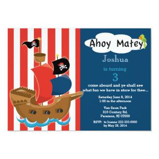 "Pirate Ship Birthday Invitation 5"" X 7"" Invitation Card"