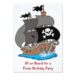 "Pirate Ship Birthday Party 5"" X 7"" Invitation Card"