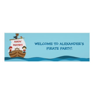 Pirate Ship Birthday Party Banner Poster