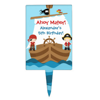 Pirate Ship Birthday Party Cake Topper
