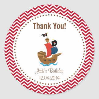 Pirate Ship Birthday Thank You Sticker Red