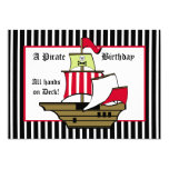 Pirate Ship Birthday Voyage Black Stripe Invites