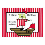 Pirate Ship Birthday Voyage Red Stripe Announcements