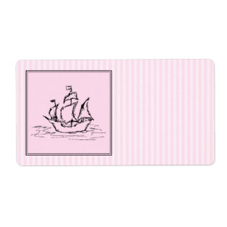 Pirate Ship. Black and Pink. Label