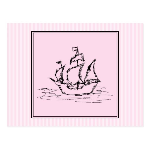 Pirate Ship. Black and Pink. Post Cards