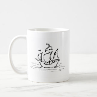 Pirate Ship. Black and White. Coffee Mug
