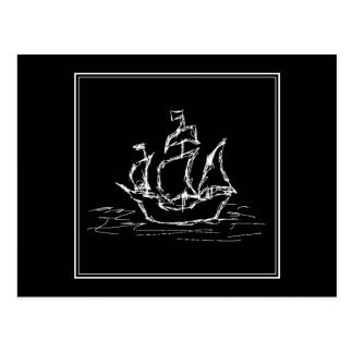 Pirate Ship. Black and White Galleon. Postcard